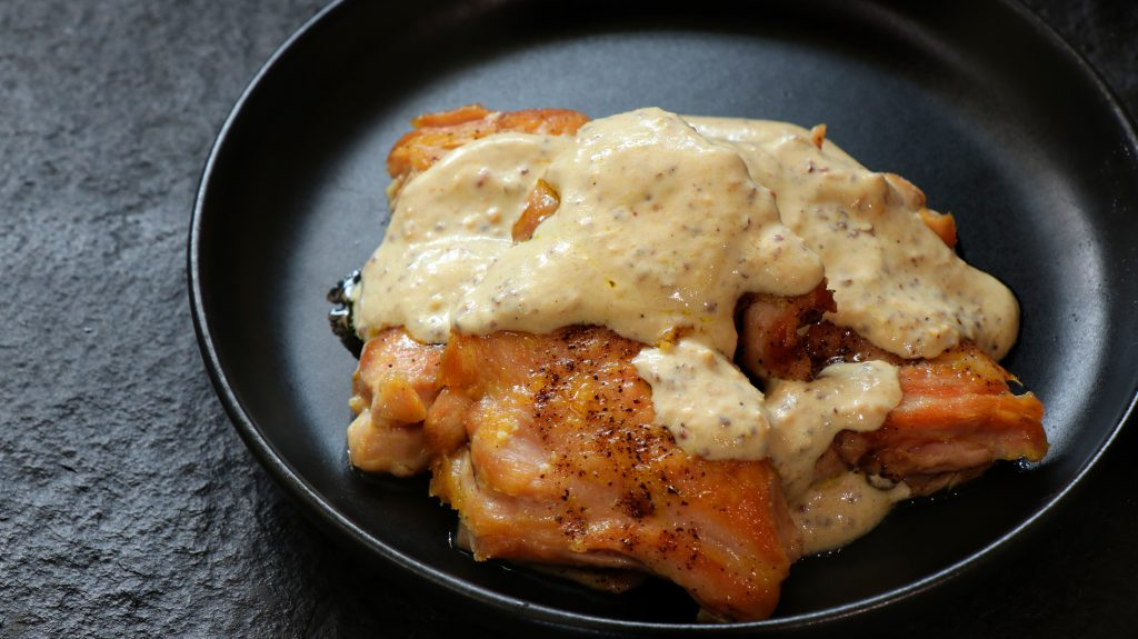 Keto Chicken in a creamy mustard sauce